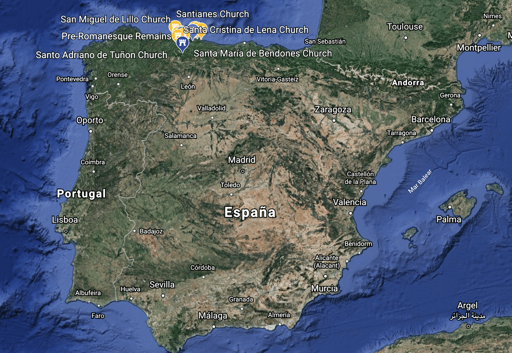 Map of the Iberian Peninsula with the pre-Romanesque buildings marked