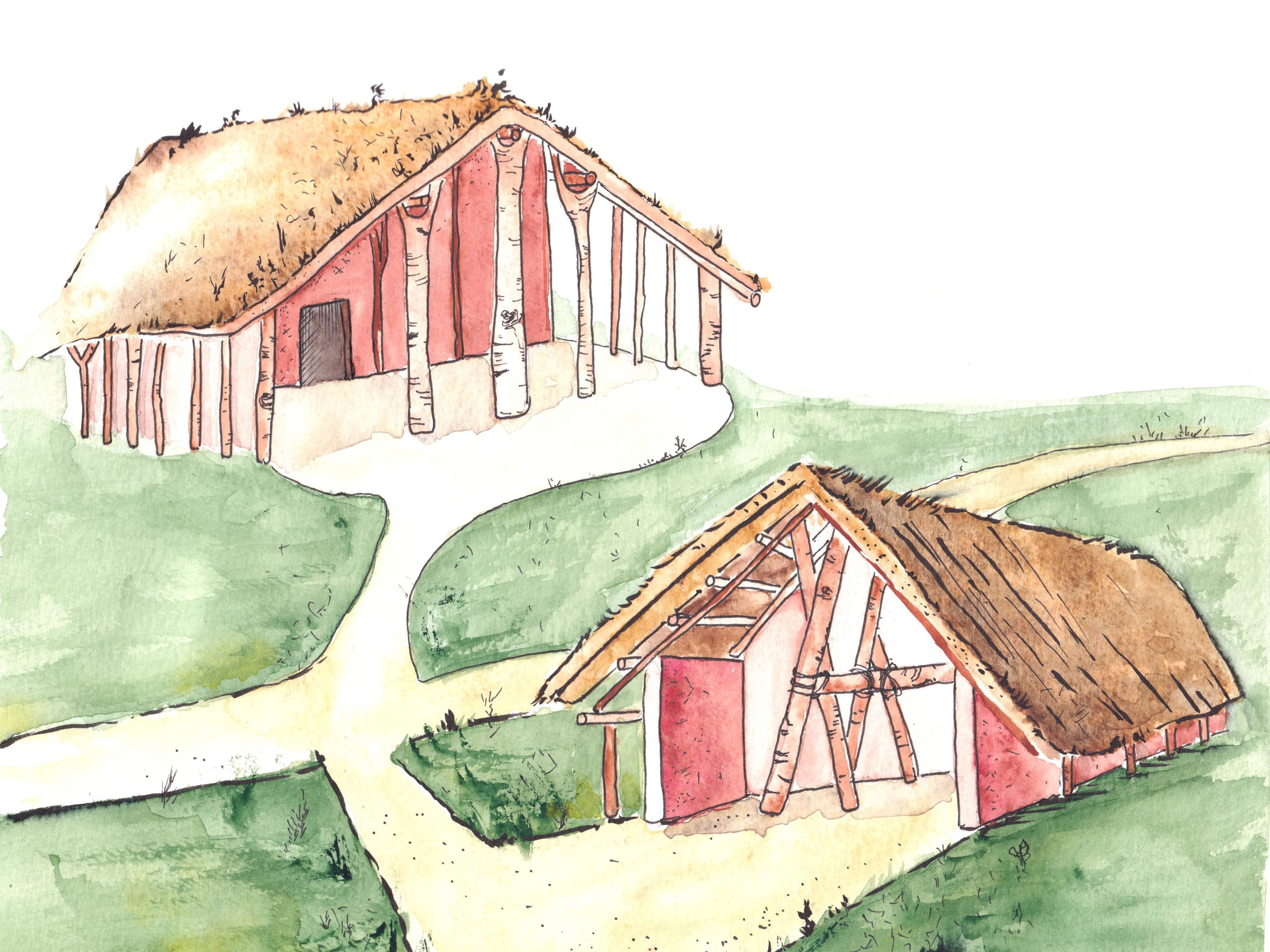 Drawing of a Stone Age landscape with two huts