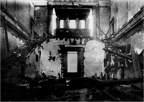 The damaged central staircase in WWII