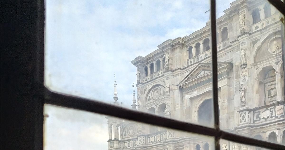 The facade of the Certosa di Pavia