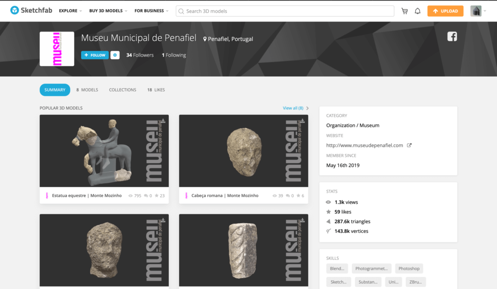 Web for the 3D materials of Penafiel