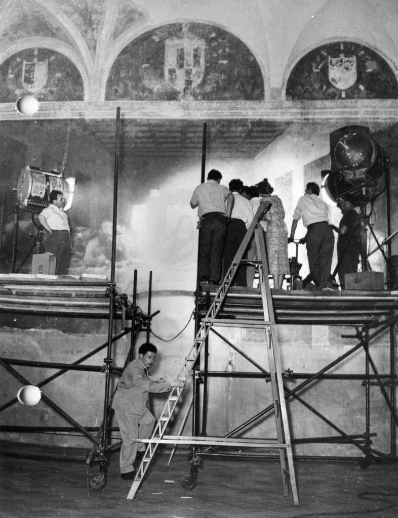 """The Last Supper during the filming of """"Il Miracolo della Cena"""""""