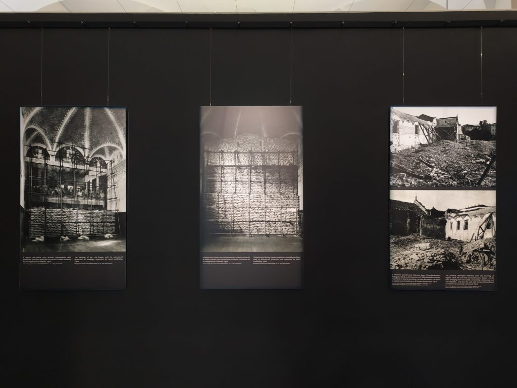 The exhibition: the wall with the pictures of refectory's bombing