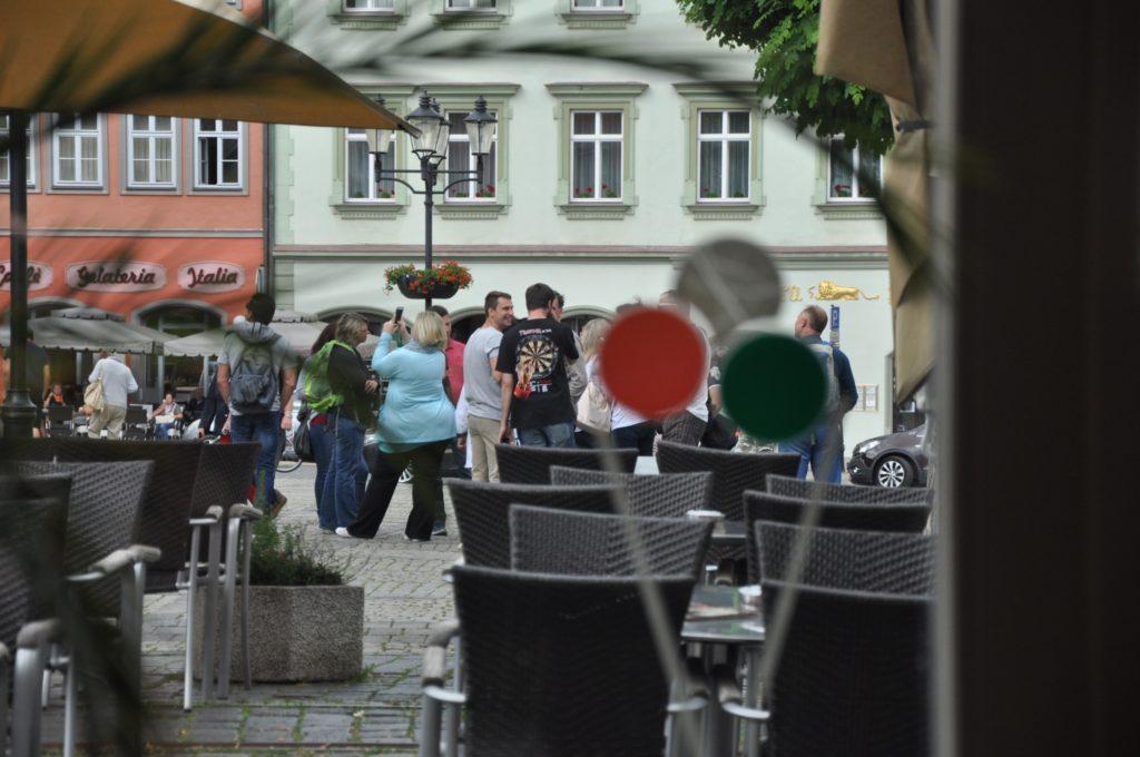 German tourists in the Naumburg main square