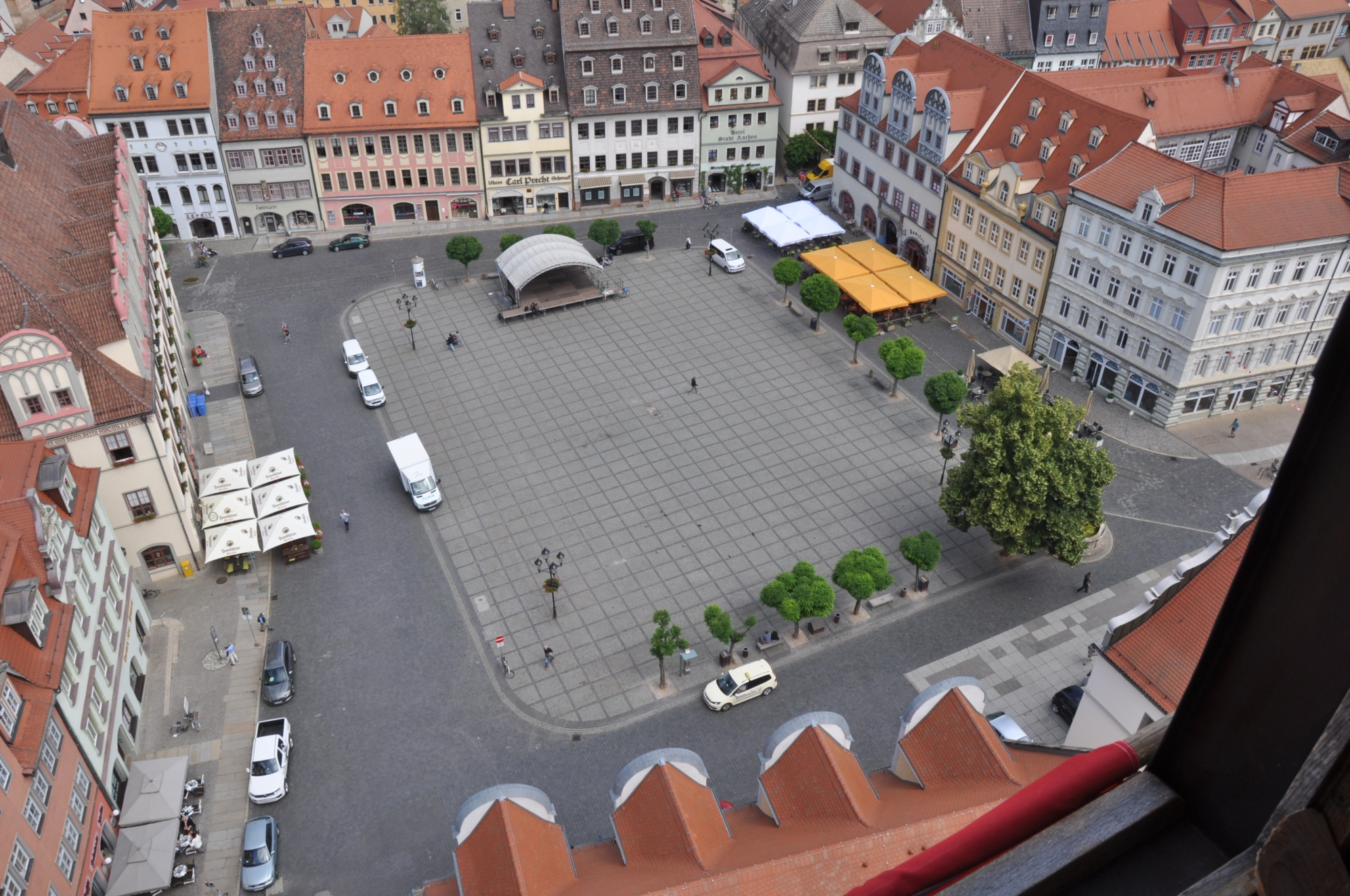 The Naumburg main square as seen from the tower of the St Wenzel church