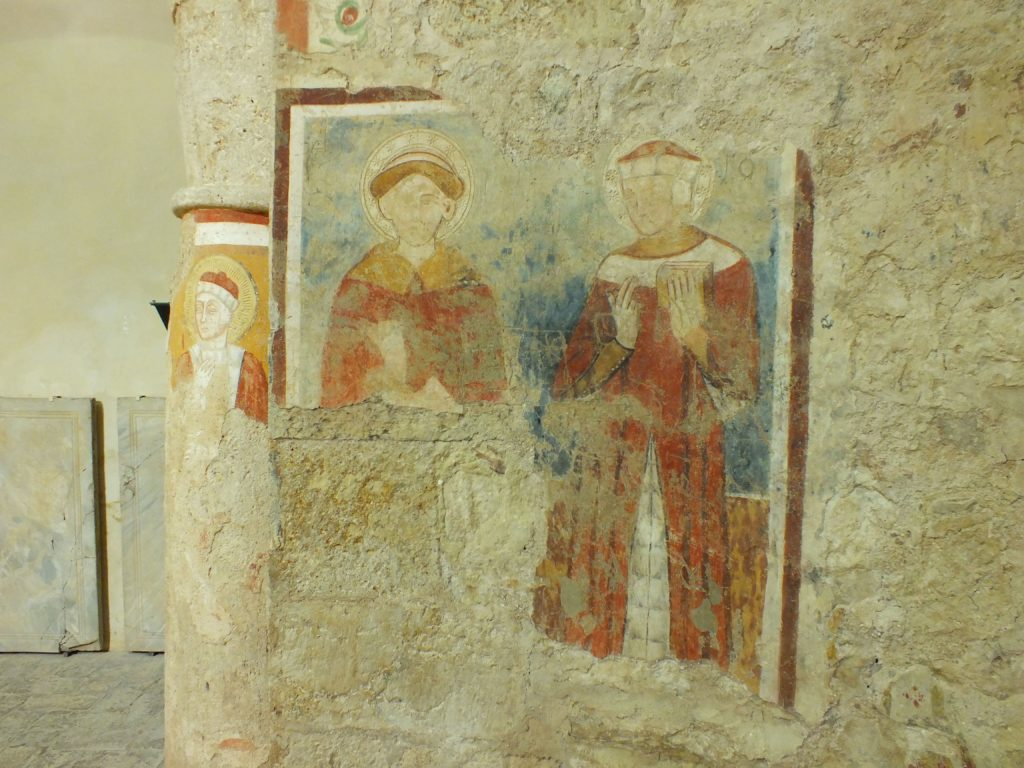 The frescoes inside the chirch of Saints Cosma and Damian
