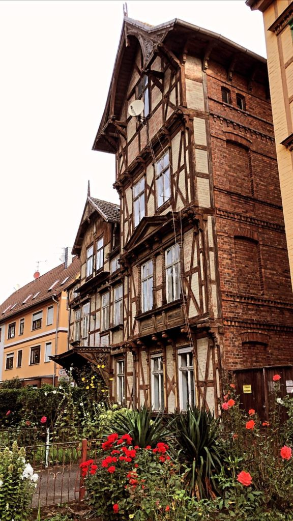 This image shows the typical medieval style timber construction which can be seen in Halberstadt