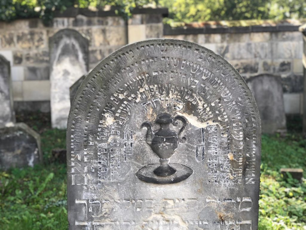 The ornamentation of the gravestone in the Jewish cemetery