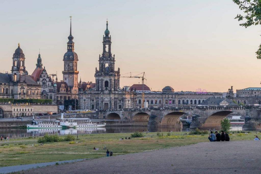 View of the Historic Architectural Buildings in Dresden as seen from the Elbe Valley.