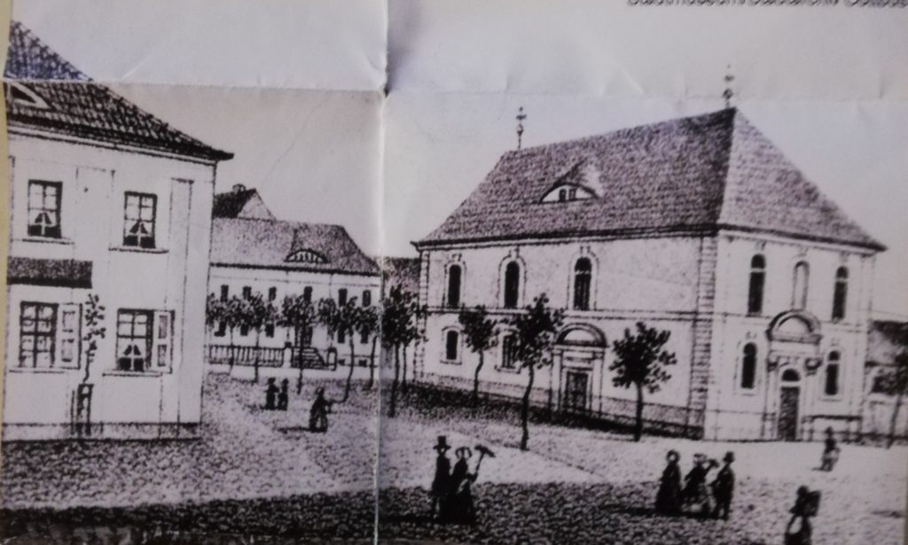 The castle church on the right without a tower in 1870